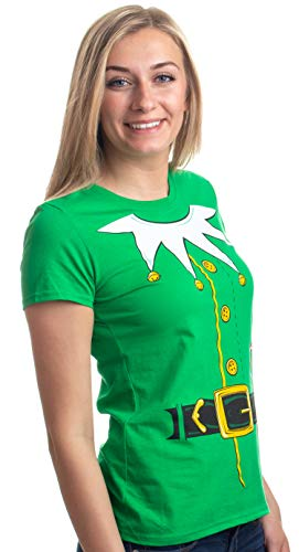 Santa's Elf Costume | Jumbo Print Novelty Christmas Holiday Humor Ladies' T-Shirt-Ladies,2XL Green