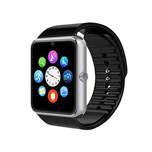 Smartwatch GT08 Bluetooth Smart Watch, Touch Screen Smartwatch Phone with SIM Card Slot Camera Pedometer Sport Tracker for Android Smartphones (Silver)