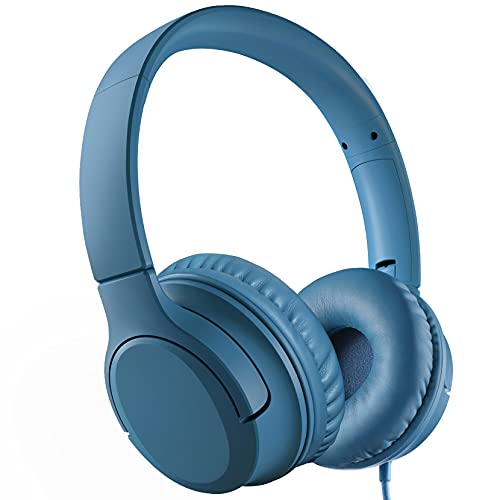 Kids Headphones, Wired Headphones for Kids Teens Children Girls, Over/On Ear Headset with 94dB Volume Limit, Foldable Adjustable Headphones for School, Travel, Online Learning, for Phone, Tablet, PC