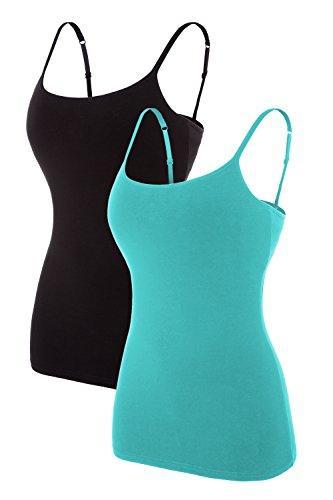 ATTRACO Spaghetti Tank Shirt for Women Cozy Camisole Packs Solid Black Aqua Small