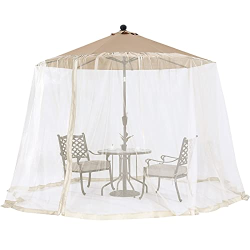 OUTDOOR WIND Outdoor 7.5-11FT Patio Umbrella Table Cover Mosquito Polyester Netting Screen,Beige