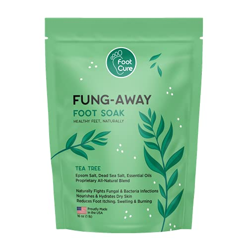 Foot Cure Tea Tree Oil Foot Soak with Epsom Salt - Natural Blend Soothes Sore & Tired Feet, Softens Calluses, For Toenail Fungus & Athletes Foot, Fungal Toe Spa Treatment, Pedicure, Made in USA, 16 oz