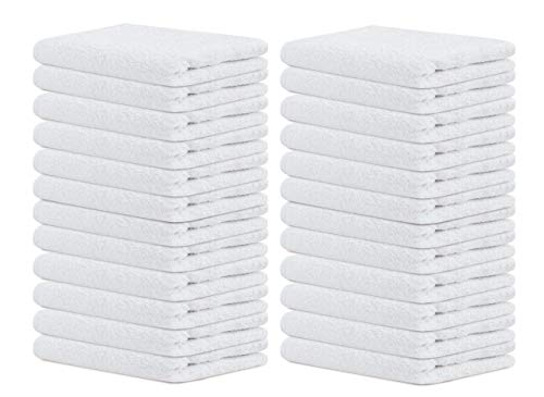 Terry Towels Salon White 24 Pack Hand Towels Set Pk 24-100% Cotton Saloon Towel-Ultra Soft Hand Towels-Gym Towel-(Pk 24, White)-16 x 27-Ringspun Cotton-Maximum Softness and Absorbency-Easy Care