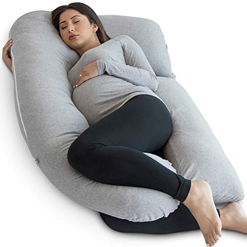 PharMeDoc Pregnancy Pillow, U-Shape Full Body Maternity Pillow with Travel & Storage Bag, Support Detachable Extension