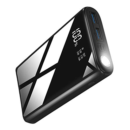 Portable Charger Power Bank 26800mAh, External Battery Charger with 2 Inputs 2 Outputs, Huge Capacity Backup Battery with LCD Display Phone Charger with Flashlight for Smartphone Tablet and More