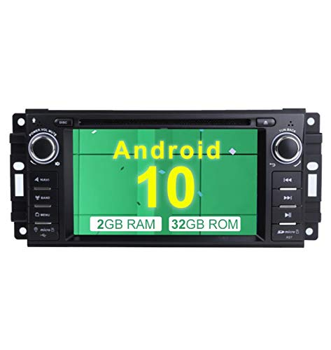 """MCWAUTO Compatible Jeep Wrangler JK Dodge Ram Challenger GPS DVD Player Head Unit Android 10.0 Car Stereo Single Din 6.2"""" 2G RAM+32G ROM Indash Radio with Navigation Bluetooth/Rear Camera"""