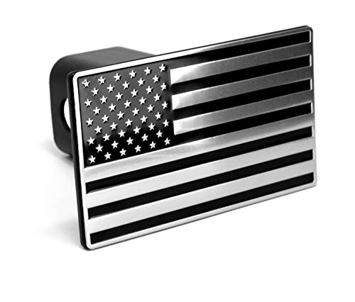LFPartS USA US American Flag Black & Chrome Metal Trailer Hitch Cover Fits 2' Receivers