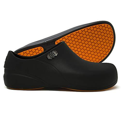 Stico Men's Slip Resistant Chef Clogs, Professional Non-Slip Work Shoes for Restaurant Hospital Nursing Garden [Black/US Men 5]