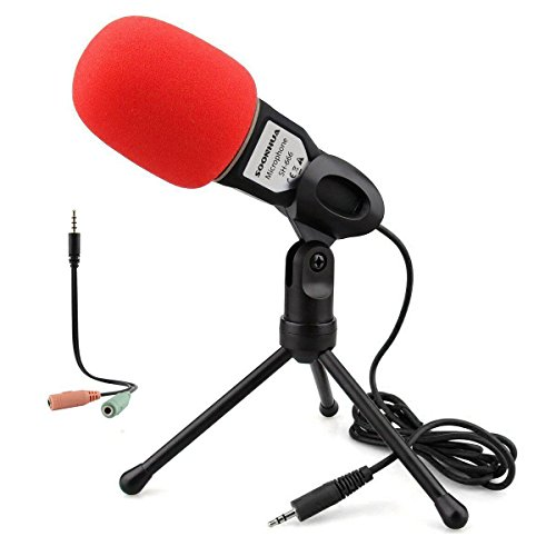 Condenser Microphone,Computer Microphone,SOONHUA 3.5MM Plug and Play Omnidirectional Mic with Desktop Stand for Gaming,YouTube Video,Recording Podcast,Studio,for PC,Laptop,Tablet,Phone