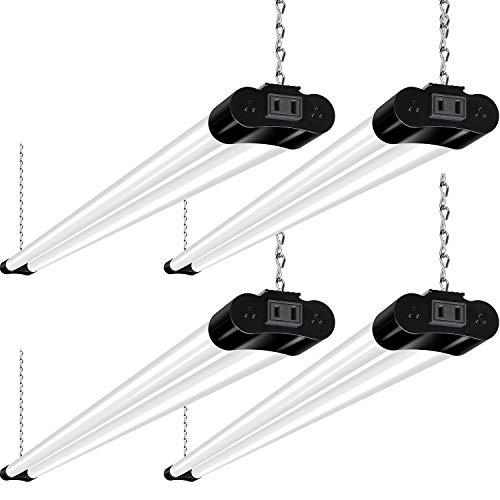 Linkable LED Shop Light for Garage, 4400lm, 4FT 42W Utility Light Fixture for Workshop, 5000K Daylight LED Workbench Light with Plug [250W Equivalent] Hanging or Surface Mount, Black - 4 Pack ETL