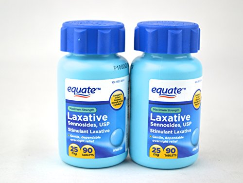 Equate Maximum Strength Laxative, Sennosides USP, 25mg, 90ct (2 Pack)