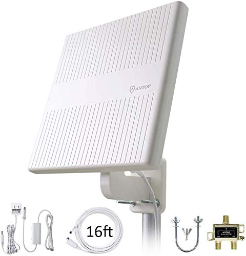 【2020 Newest】 Omnidirectional TV Antenna,Support 4K 1080P UHF/VHF Freeview HDTV Channels with 2-Way Signal Splitter & Amplifier to Enhance UHF for Home/RV/Attic/Marine with 16ft Coax Cable
