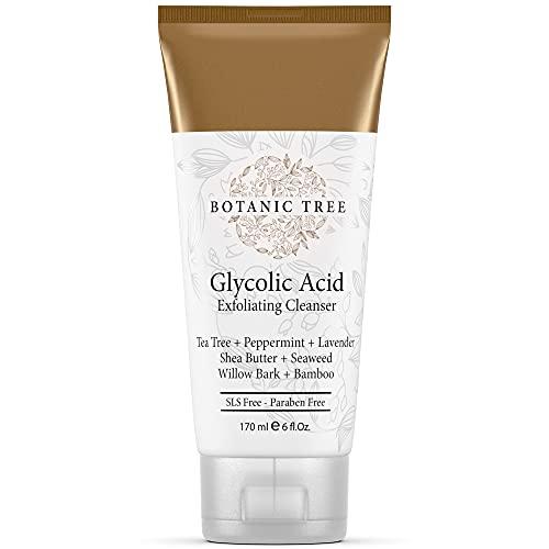 Botanic Tree Glycolic Acid Face Wash - Exfoliating Face Wash with 10% Glycolic Acid, AHA and Salicylic Acid for Acne, Anti Aging, and Wrinkle Reduction, 6 fl. oz.