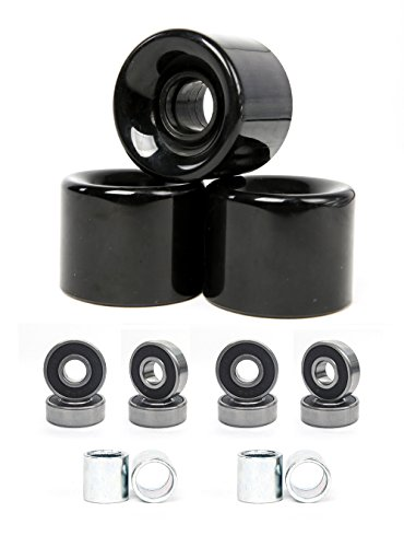 FREEDARE 58mm Skateboard Wheels 82a + ABEC-7 Bearing Steel and Spacers Cruiser Wheels (Black, Pack of 4)
