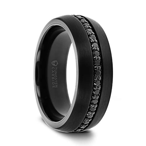 Thorsten Valiant | Tungsten Rings for Men | Black Tungsten | Comfort Fit | Wedding Ring Band with Black Sapphires - 8mm (8mm, 10.5)