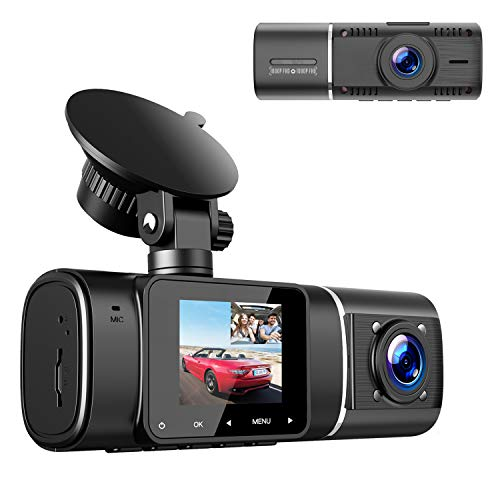 Dual Dash Cam, TOGUARD FHD 1080P+1080P Front Cabin Inside Dual Dash Camera Driving Recorder for Cars Taxi w/IR Night Vision Parking Monitor, 1.5' Screen Display Compact Small 2 Way Car Security Camera