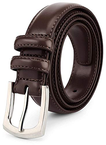mens big and tall belts Size 58 'ALL GENUINE LEATHER' Classic Dress Belt Classic Stitch 1.2 inch Brown 58