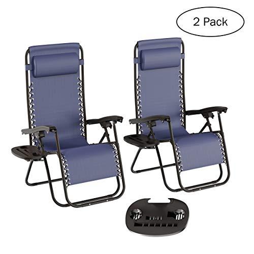 Lavish Home Zero Gravity Lounge Chairs- Set of 2, Navy Blue