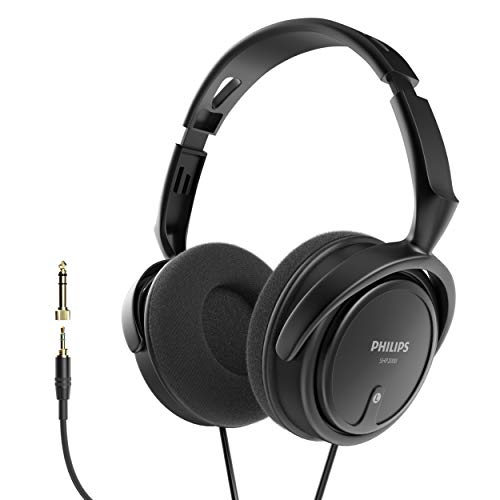 PHILIPS Over Ear Wired Stereo Headphones for Podcasts, Studio Monitoring and Recording Headset for Computer, Keyboard and Guitar with 6.3 mm (1/4') Add On Adapter