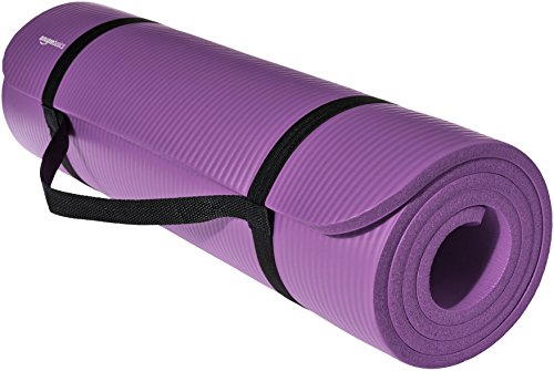 AmazonBasics Extra Thick Exercise Yoga Gym Floor Mat with Carrying Strap - 74 x 24 x .5 Inches, Purple