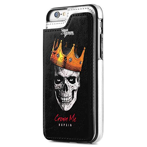 Hopsin Crown Me iPhone 7 iPhone 8 Case Wallet with Card Holder, Premium PU Leather Double Magnetic Buttons Flip Shockproof Protective Cover for iPhone 7/8 Case Gift