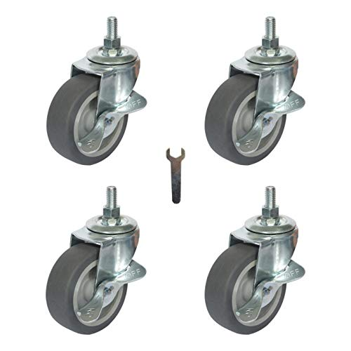 Mysit 3 Inch Caster Wheels Heavy Duty Metric Threaded Stem Casters Set of 4, Swivel Rubber Casters Replacement with brake, Grill Cart Wheels for Furniture Trolley Dolly Table Workbench (M12 x 1' Stem)