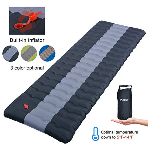 YSXHW Self Inflating Camping Pads Thick 4.7 Inch Lightweight Camping Sleeping Pad Ultralight,Compact, Waterproof PVC Inflatable Mat for Tent, Hiking and Backpacking (Black)