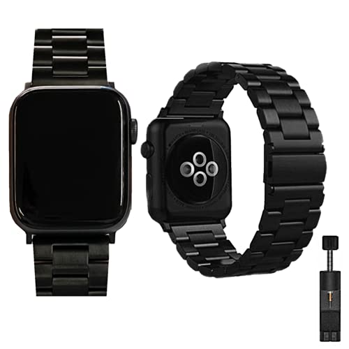 Sappheiros Compatible with Apple Watch Band 42mm 44mm 40mm 38mm Solid Stainless Steel Wristband Replacement for iWatch Strap Series 6/5/4/3/2/1/SE for Men and Women (Black, 42mm/44mm)