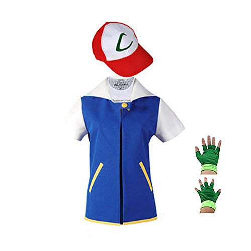 SAIANKE Costume Hoodie Cosplay Jacket Gloves Hat Sets for Trainer Kids Blue