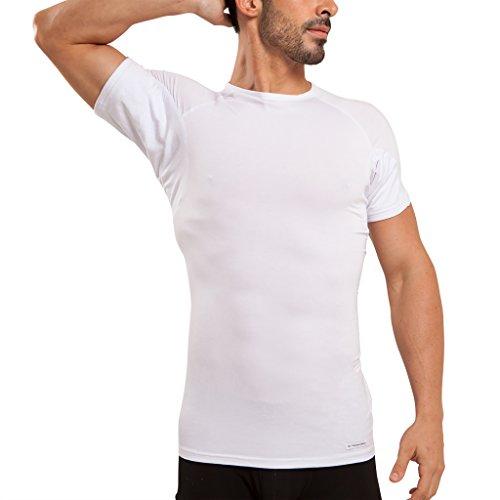 Ejis Men's Sweat Proof Undershirt, Crew Neck, Anti-Odor Silver, Micro Modal, Sweat Pads (Medium, White)