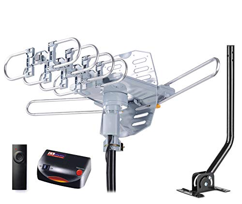pingbingding PBD WA-2608 Digital Amplified Outdoor HD TV Antenna with Mounting Pole & 40 ft RG6 Coax Cable 150 Miles Range Wireless Remote Rotation