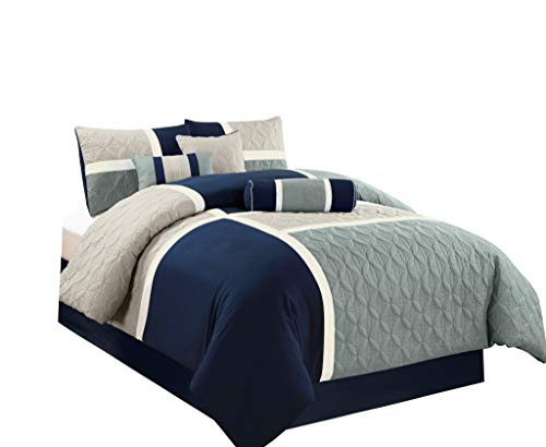 Chezmoi Collection 7-Piece Quilted Patchwork Comforter Set (King, Blue/Gray)