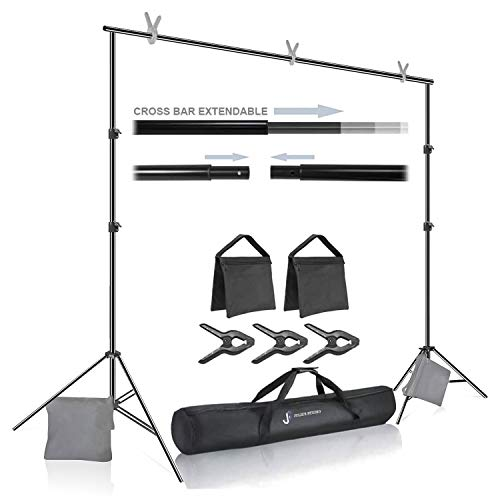 Julius Studio Premium Photo & Video 10 ft. Wide Backdrop Stand (119 x 86 inch) Background Support System Kit with Spring Clamp, Sand Bag, Carry Bag, Photography Studio, JSAG283
