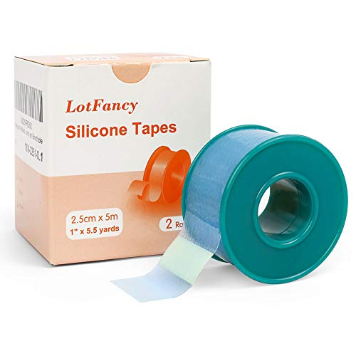 """2Rolls 1""""×5.5 Yds LotFancy Medical Silicone Tape, Waterproof Adhesive Surgical Tape, Pain-Free Removal, Water-Proof Skin Tape for Surgery First Aid, Wound, Bandage and Sensitive Skin, Latex Free"""