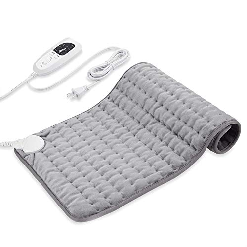 Dekugaa Heating Pad, Electric Heating Pad for Moist & Dry Heat, 6 Electric Temperature Options, 4 Temperature Settings-Auto Shut Off -King Size 12' x 24'-Hot Heated Pad (Silver Gray)