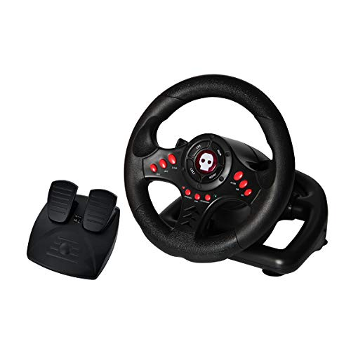 Numskull Multi Format Steering Wheel with Pedals - For Playstation 3, PS4, PC, and Xbox One - Realistic Steering Wheel Controller Accessory for Console Car Racing Simulator Driving Games