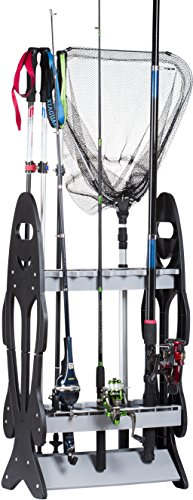 Wealers 16 Fishing Rod Holder Storage Rack Fishing Pole Stand Garage Organizer Space Saver, Designed to Holds Any Type of Rod or Hiking Sticks and Will Keep It Steady
