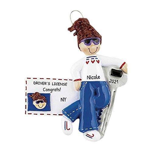 Personalized New Driver's License Girl Christmas Tree Ornament 2020 - Brown Hair Female Sunglass ID Car Key Cool Grand-Daughter Friend Teen Holiday Motor - Free Customization (Brunette)