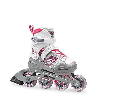 Rollerblade Bladerunner Phoenix Girls Adjustable Fitness Inline Skate, White and Pink, Junior, Value Performance Inline Skates, Youth Junior 1 to 4