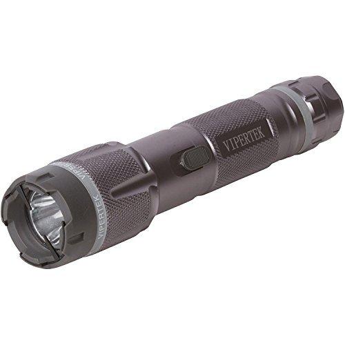 VIPERTEK VTS-T03 - Aluminum Series 53 Billion Heavy Duty Stun Gun - Rechargeable with LED Tactical Flashlight, Gunmetal Gray