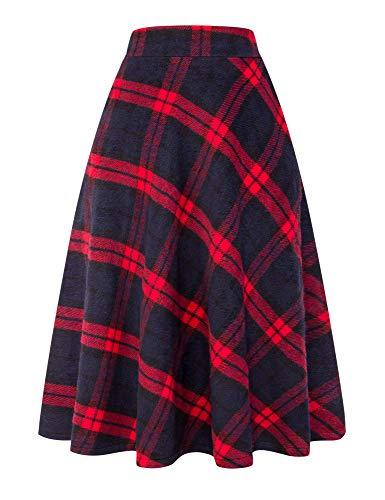 IDEALSANXUN Womens High Elastic Waist Maxi Skirt A-line Plaid Winter Warm Flare Long Skirt (Small, Long Red)