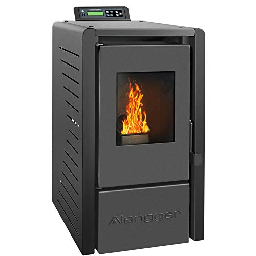 Langger Serenity Wood Pellet Stove, Electric Fireplace Heater with Smart Controller,Black