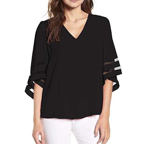 Shy Velvet Women's V Neck 3/4 Bell Sleeve Chiffon Blouse Mesh Panel Loose Top Shirts Black