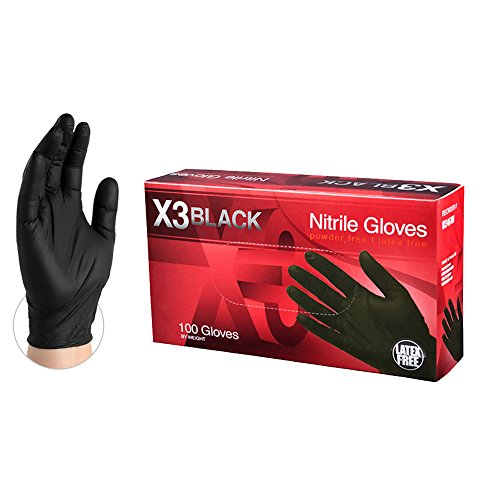 AMMEX X3 Industrial Black Nitrile Gloves, Box of 100, 3 mil, Size Medium, Latex Free, Powder Free, Textured, Disposable, Non-Sterile, BX344100-BX