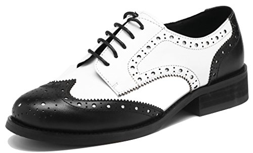 U-lite Women's Perforated Lace-up Wingtip Leather Flat Oxfords Vintage Oxford Shoes Brogues (8, Black White)