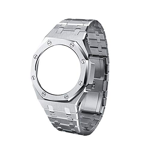 ALL Metal Watch Band Strap Bezel 3rd Replacement Accessories for Casio Mens G-Shock GA2100/GA-2110 (Silver)