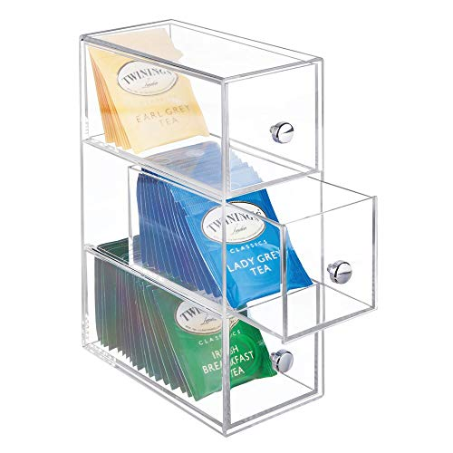 mDesign Plastic Kitchen Pantry, Cabinet, Countertop Organizer Storage Station with 3 Drawers for Coffee, Tea, Sugar Packets, Sweeteners, Creamers, Drink Pods, Packets - Clear