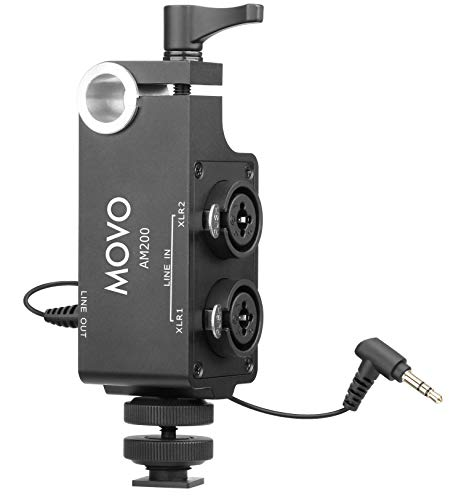 Movo AM200 2-Channel XLR Microphone Audio Mixer with Shoe and 15mm Rod Mounting Options - for Recorders, Mirrorless, DSLR Cameras