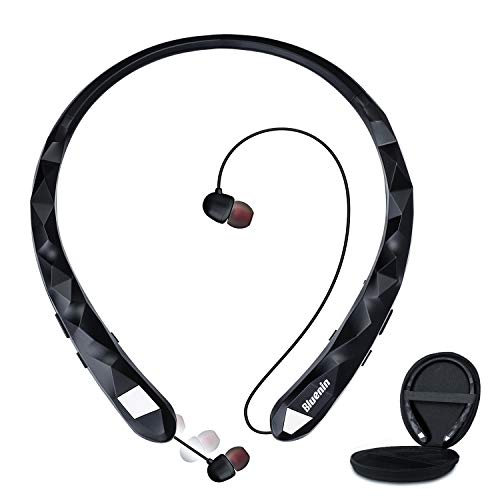Bluetooth Headphones, Bluenin Bluetooth 5.0 Neckband Wireless Headphones Noise Cancelling Headset with Carrying Case, Retractable Earbuds Stereo Earphones with Mic (Black)