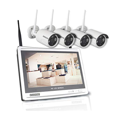 [8CH Expandable] 1080P Home Security Cameras System with 12 Inch Monitor & NVR Combo Surveillance Kits, 8 Channel Cameras CCTV System with 4Pcs Wireless Video 2.0MP IP Cameras,Free APP(No HDD)